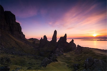 rugged landscape - The Old Man of Storr, rock formation at sunrise, Isle of Skye, Scotland Stock Photo - Rights-Managed, Code: 700-07540307