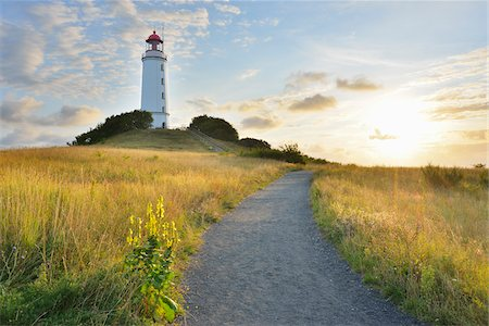 scenic view - Path to Lighthouse on the Dornbusch in the Morning with Sun, Summer, Baltic Island of Hiddensee, Baltic Sea, Western Pomerania, Germany Stock Photo - Rights-Managed, Code: 700-07599831