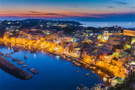 south european - Night View of Marina Corricella, Procida, Gulf of Naples, Campania, Italy. Stock Photo - Rights-Managed, Code: 700-07608364