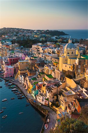 Vertical View of Marina Corricella, Procida, Gulf of Naples, Campania, Italy. Stock Photo - Rights-Managed, Code: 700-07608365