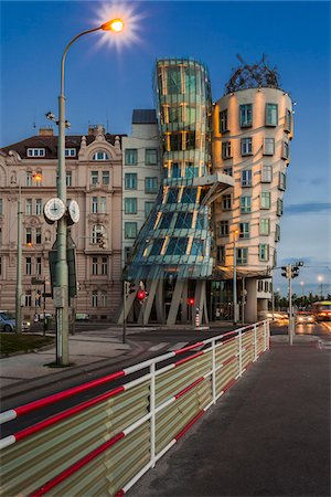 View of the Dancing House at dusk, Prague, Bohemia, Czech Republic. Stock Photo - Rights-Managed, Code: 700-07608366