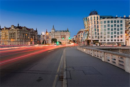 View of the Dancing House from Jiraskuv Bridge at dusk, Prague, Bohemia, Czech Republic. Stock Photo - Rights-Managed, Code: 700-07608367