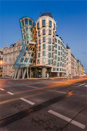 european - Front View of the Dancing House at dusk, Prague, Bohemia, Czech Republic. Stock Photo - Rights-Managed, Code: 700-07608368
