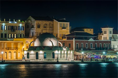 View of the Turkish Mosque Yiali Tzami at Night, Venetian Harbour, Chania, Crete, Greece. Stock Photo - Rights-Managed, Code: 700-07608360