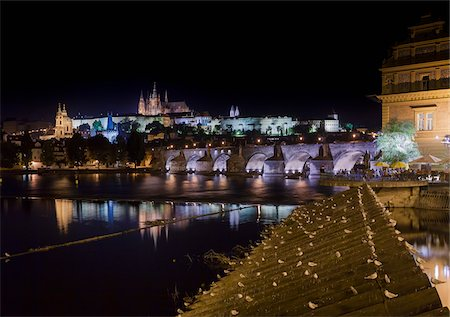 Night View of the Prague Castle, Vltava River and Charles Bridge, Prague, Bohemia, Czech Republic. Stock Photo - Rights-Managed, Code: 700-07608361