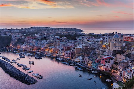 Dusk view of marina and harbour, Corricella, Procida, Gulf of Naples, Campania, Italy. Stock Photo - Rights-Managed, Code: 700-07608363
