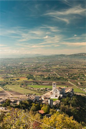 Overview of San Francesco's Basilica and surrounding hills, Assisi, Umbria, Italy Stock Photo - Rights-Managed, Code: 700-07608386