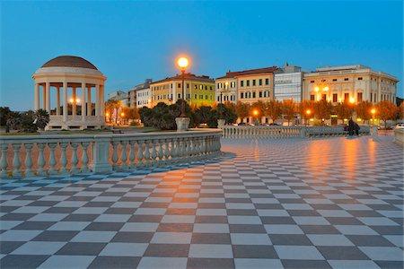 Gazebo at Terrazza Mascagni at Dusk, Livorno, Tuscany, Italy Stock Photo - Rights-Managed, Code: 700-07674843