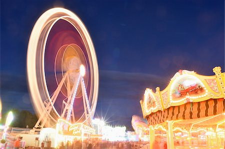 Illuminated Rides at Public Festival at Night, Neumarkt in der Oberpfalz, Upper Palatinate, Bavaria, Germany Stock Photo - Rights-Managed, Code: 700-07708396