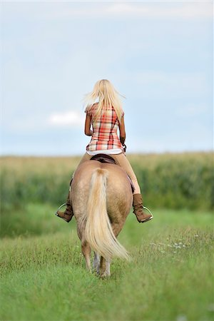 Backview of a young woman riding a Haflinger horse in a field in summer, Upper Palatinate, Bavaria, Germany Stock Photo - Rights-Managed, Code: 700-07734369