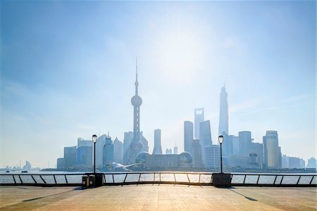 places - View from the promenade beside the Huangpu River at The Bund, looking towards Pudong skyline, Shanghai, Shanghai Shi, Zhonghua, China Stock Photo - Rights-Managed, Code: 700-07744988