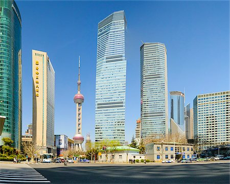futuristic - Lujiazui financial district with the Oriental Pearl Tower, Pudong, Shanghai, Shanghai Shi, Zhonghua, China Stock Photo - Rights-Managed, Code: 700-07745030