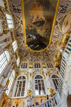 Ceiling above the Jordan Staricase and hall, The Hermitage Museum, St. Petersburg, Russia Stock Photo - Rights-Managed, Code: 700-07760136