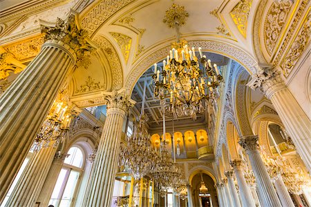 Ceiling and chandeliers, Small Pavilion Hall, The Hermitage, St. Petersburg, Russia Stock Photo - Rights-Managed, Code: 700-07760152