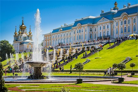 Samson Fountain and the Grand Cascade, Peterhof Palace, St. Petersburg, Russia Stock Photo - Rights-Managed, Code: 700-07760176
