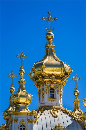 shiny - Close-up of golden turrets of Church, Peterhof Palace, St. Petersburg, Russia Stock Photo - Rights-Managed, Code: 700-07760182