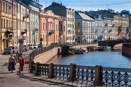 Promenade and scenic view of the Moyka River, St. Petersburg, Russia Photographie de stock - Rights-Managed, Code: 700-07760239