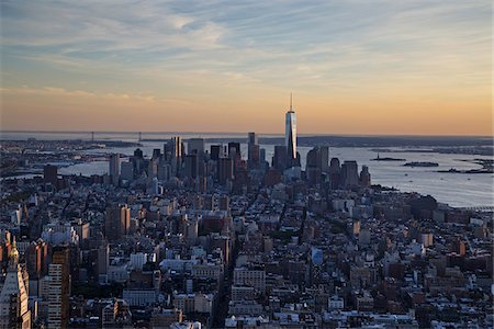 Aerial View of New York City Skyline, New York, USA Stock Photo - Rights-Managed, Code: 700-07760343