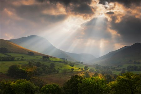 Mountains and Valley at Sunset after Rain Storm in Early Autumn, Derwent Fells, Lake District, Cumbria, England Stock Photo - Rights-Managed, Code: 700-07760374