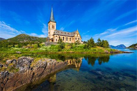 Lofoten Cathedral, Kabelvag, Lofoten, Norway Stock Photo - Rights-Managed, Code: 700-07784235