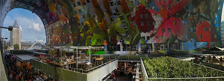 food stalls - Interior of new Markthal Rotterdam with restaurants, food stalls and modern artwork on ceiling. The center of the market space is covered with a structure of residential apartments, Rotterdam, Netherlands Stock Photo - Rights-Managed, Code: 700-07783661