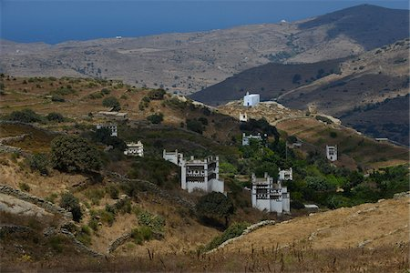 Overview of valley with historic pigeon houses (1200-1560) from Venetian period, Tinos, Cyclades Islands, Greece Stock Photo - Rights-Managed, Code: 700-07783675