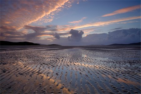 scenic view - Sunset over the Lusketyre Bay on the Luskentyre Peninsula looking towards Seilebost, Seilebost, Isle of Harris, Scotland Stock Photo - Rights-Managed, Code: 700-07783754