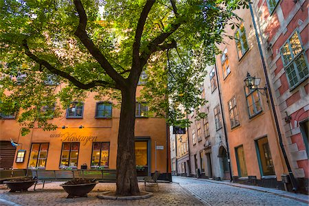 street cafe day - Street scene and cafe, Gamla Stan (Old Town), Stockholm, Sweden Stock Photo - Rights-Managed, Code: 700-07783821