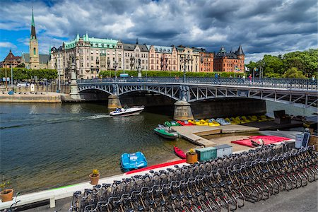 stockholm - Bicycles and paddle boats for rent next to the Djurgarden Bridge at the island of Djurgarden, Stockholm, Sweden Stock Photo - Rights-Managed, Code: 700-07783832