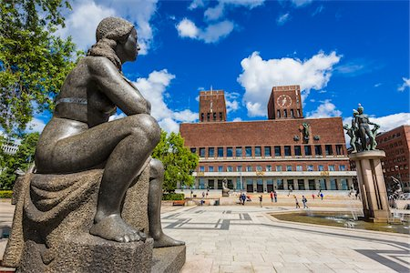 Gustav Vigeland Sculpture in front of City Hall, Oslo, Norway Stock Photo - Rights-Managed, Code: 700-07783919