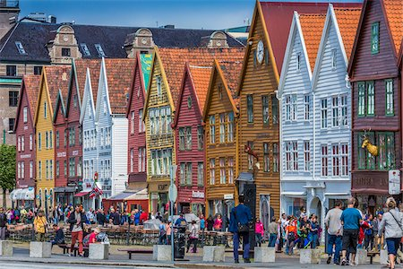 Hanseatic wharf of Bryggen, Bergen, Norway Stock Photo - Rights-Managed, Code: 700-07797744