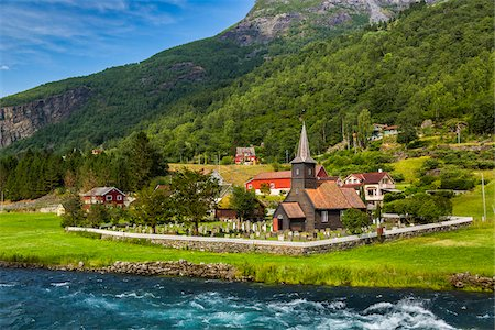Flam Church, Flam, Aurland, Norway Fotografie stock - Rights-Managed, Codice: 700-07797770