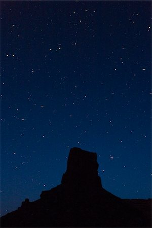 places - Silhouetted butte against night sky, Valley of the Gods, Utah, USA Stock Photo - Rights-Managed, Code: 700-07802607