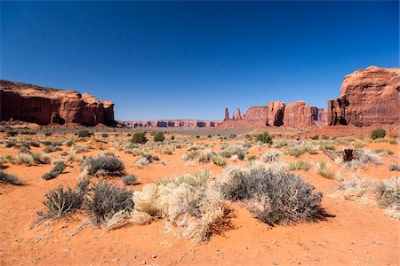 Scenic overview of Monument Valley, Arizona, USA Stock Photo - Rights-Managed, Code: 700-07802622