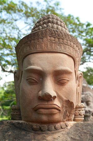 Close-up statue of a god, Angkor Thom, UNESCO World Heritage Site, Angkor, Siem Reap, Cambodia, Indochina, Southeast Asia, Asia Stock Photo - Rights-Managed, Code: 700-07803190