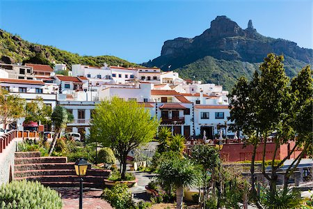 Mountain village of Tejeda with Roque Nublo in the background, Gran Canaria, Las Palmas, Canary Islands Stock Photo - Rights-Managed, Code: 700-07849640