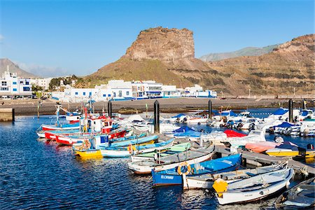 Colorful fishing boats docked in the harbour, Agaete, Gran Canaria, Las Palmas, Canary Islands Stock Photo - Rights-Managed, Code: 700-07849650
