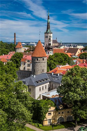 quaint - View over the Old Town to the port from Toompea Hill, in Tallinn, Estonia Stock Photo - Rights-Managed, Code: 700-07849663