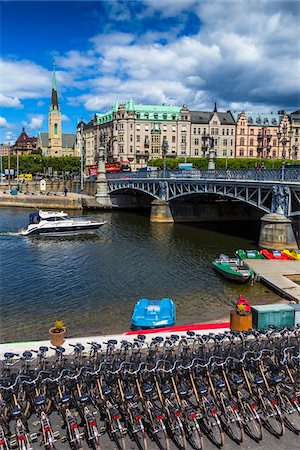 stockholm - Bicycles and paddle boats for rent next to the Djurgarden Bridge on the island of Djurgarden, Stockholm, Sweden Stock Photo - Rights-Managed, Code: 700-07849673