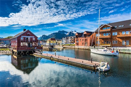 Scenic view of village and harbour, Kablevag, Vagan, Austvagoya, Loften, Nordland, Northern Norway, Norway Stock Photo - Rights-Managed, Code: 700-07849694