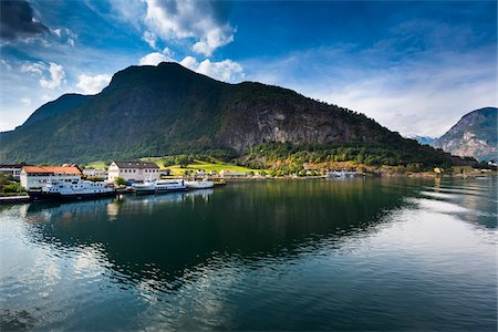 Scenic view of Aurland along the Aurlandsfjord arm of the Sognefjord, Sogn og Fjordane, Western Norway, Norway Stock Photo - Rights-Managed, Code: 700-07849707