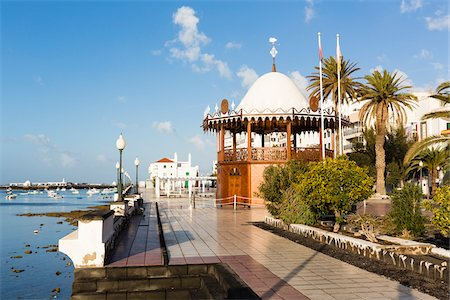 Bandstand pavillion (Quiosco de la Musica) along the waterfront promenade, (Avenida La Marina) Arrecife, Lanzarote, Las Palmas, Canary Islands Stock Photo - Rights-Managed, Code: 700-07945317