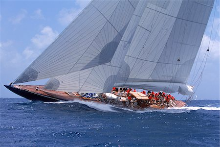 Endeavour Sails to Windward off Coast of Antigua during 2001 Antigua Classic Yacht Regatta Stock Photo - Rights-Managed, Code: 700-07965840