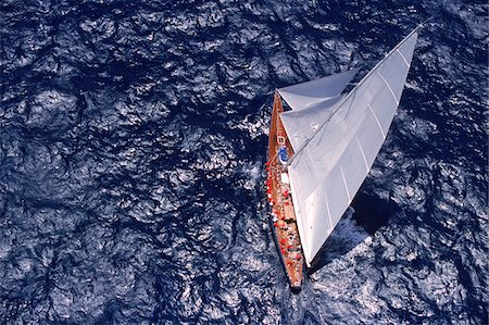 sailboat  ocean - Aerial View from Helicopter of Endeavour Racing off Coast of Antigua during 2001 Antigua Classic Yacht Regatta Stock Photo - Rights-Managed, Code: 700-07965868