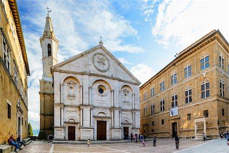 square - Duomo di Pienza, Piazza Pio II, Pienza, Val d'Orcia, Siena, Tuscany, Italy Stock Photo - Rights-Managed, Code: 700-07966054