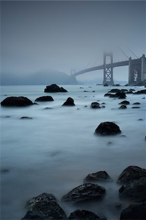 elements (weather) - The Golden Gate Bridge shrouded in fog, San Francisco, California, USA. Stock Photo - Rights-Managed, Code: 700-08002186