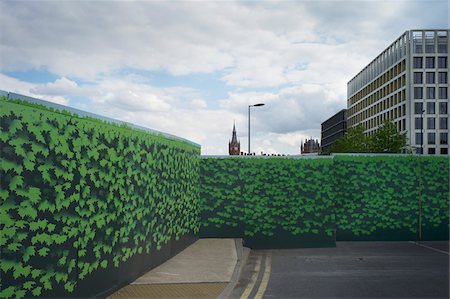 Ivy coverd fences at construction site, behind St Pancras Station, London, England Stockbilder - Lizenzpflichtiges, Bildnummer: 700-08059735