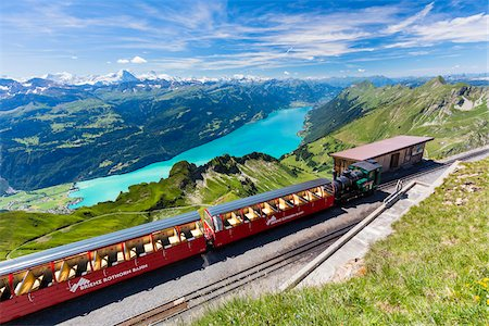 Cog Railway Station in front of Lake Brienz on Brienzer Rothorn, Bernese Oberland, Canton of Bern, Switzerland Stock Photo - Rights-Managed, Code: 700-08059745
