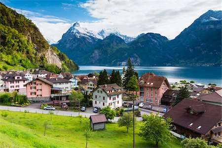 small town snow - Alpine Village of Sisikon at Tellsplatte at Urnersee in front of Mount Gitschen and Urirotstock still Snow Covered, Canton of Uri, Switzerland Stock Photo - Rights-Managed, Code: 700-08059788