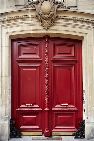 Red Wooden Doors, Paris, France Stock Photo - Rights-Managed, Code: 700-08059901